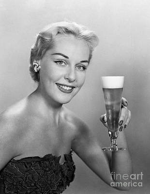 Elegant Woman With Beer, C.1950s Art Print by H. Armstrong Roberts/ClassicStock