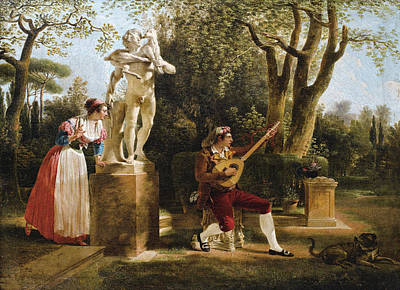Sablet Painting - Elegante Listening To A Guitar Player In A Park In Rome by Jacques Sablet