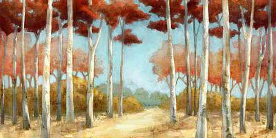 Red Tree Painting - Elegantredforest by Mauro DeVereaux