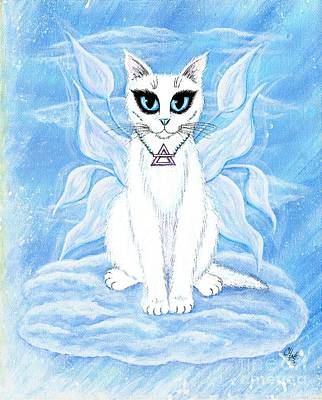 Art Print featuring the painting Elemental Air Fairy Cat by Carrie Hawks