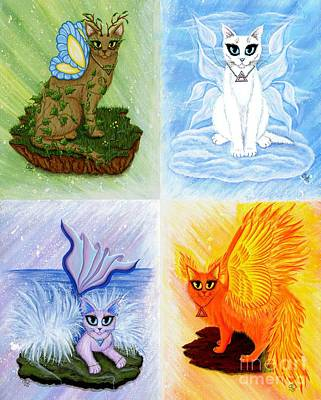 Art Print featuring the painting Elemental Cats by Carrie Hawks