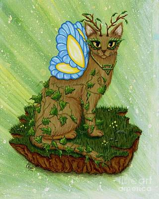Art Print featuring the painting Elemental Earth Fairy Cat by Carrie Hawks