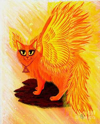 Art Print featuring the painting Elemental Fire Fairy Cat by Carrie Hawks