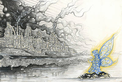 Drawing - Elemental Praying For The End Of Industrial Pollution by Alma