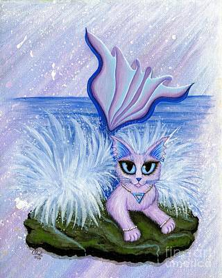 Art Print featuring the painting Elemental Water Mermaid Cat by Carrie Hawks