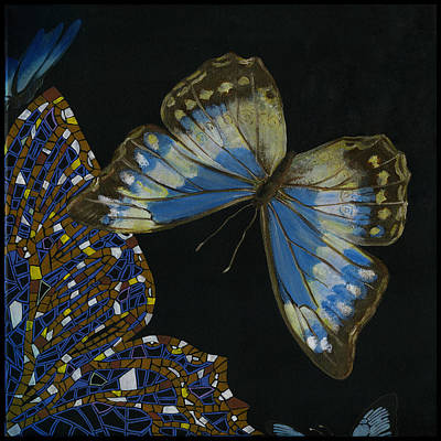 Art Print featuring the painting Elena Yakubovich - Butterfly 2x2 Top Right Corner by Elena Yakubovich