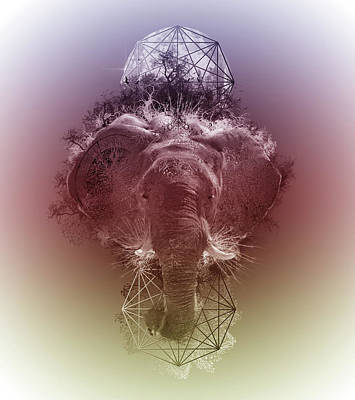 Monochromatic Digital Art - Elephant 3 by Bekim Art