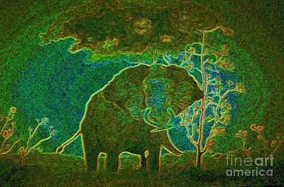 Art Print featuring the painting Elephant Abstract by John Stuart Webbstock