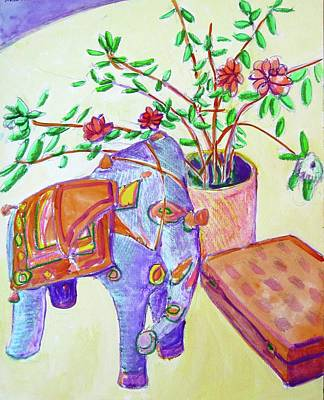 Painting - Elephant And Book by Clarence Major