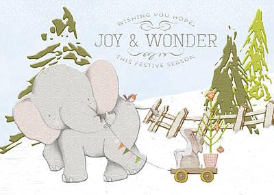 Digital Art - Elephant And Bunny by Pam  Holdsworth