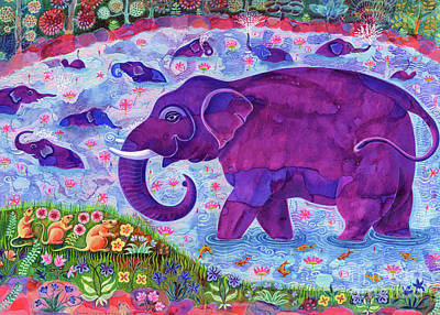 Tusk Painting - Elephant And Mice by Jane Tattersfield