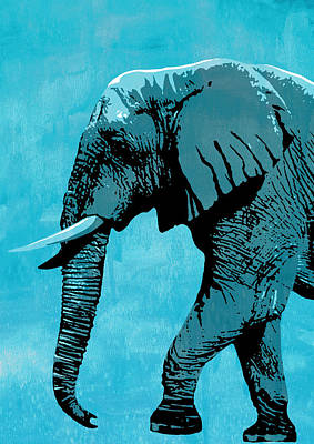 Elephant Animal Decorative Light Blue Wall Poster 3 - By Diana Van Art Print by Diana Van