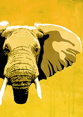 Graphic Painting - Elephant Animal Decorative Red Wall Poster 19- By Diana Van by Diana Van