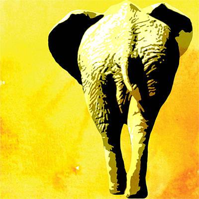 Black Tusk Painting - Elephant Animal Decorative Yellow Wall Poster 3 by Diana Van