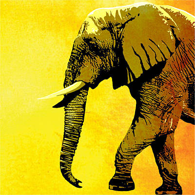 Elephant Animal Decorative Yellow Wall Poster 4 Art Print
