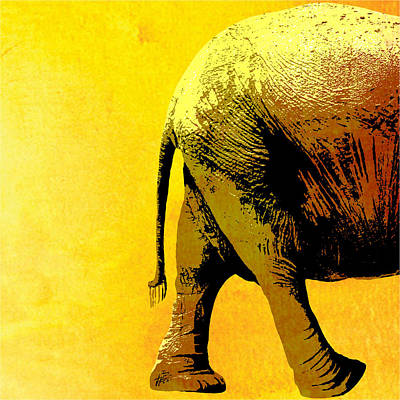 Elephant Animal Decorative Yellow Wall Poster 9 Art Print