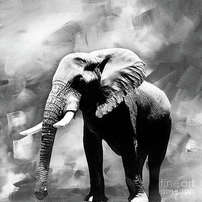 Mammals Painting - Elephant Art 01 by Gull G