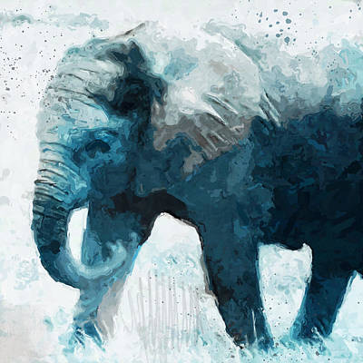 Digital Mixed Media - Elephant- Art By Linda Woods by Linda Woods