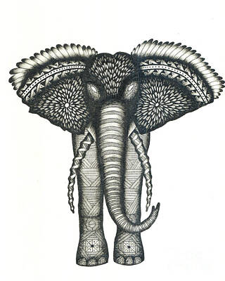 Pattern Drawing - Elephant Attitudes by Thomas Jones