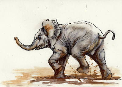 Painting - Elephant Baby At Play by Margaret Stockdale