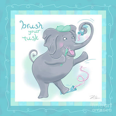 Cute Cartoon Mixed Media - Elephant Bath Time Brush Your Tusk by Shari Warren