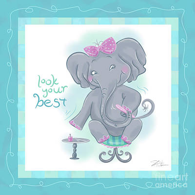 Cute Cartoon Mixed Media - Elephant Bath Time Look Your Best by Shari Warren