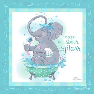 Elephant Bath Time Splish Splash Art Print by Shari Warren