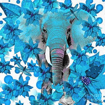 Painting - Elephant  Blue by Saundra Myles
