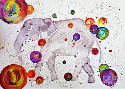 Painting - Elephant Bubbles by Crystal Schaan