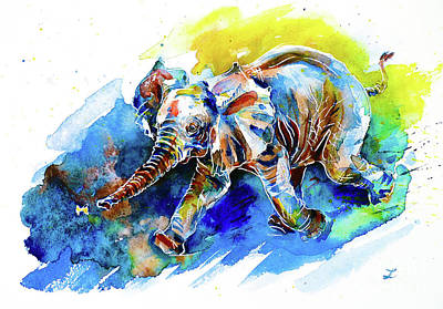 Painting - Elephant Calf Playing With Butterfly by Zaira Dzhaubaeva