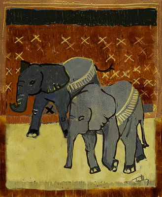 Painting - Elephant Calves by Thomas Tribby