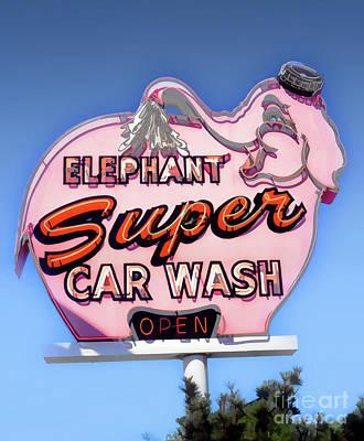 Wash Room Digital Art - Elephant Car Wash by Frank Short