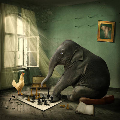Elephant Chess Art Print