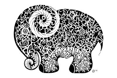 Stickers Drawing - Elephant Doodle by Jacqueline Eden