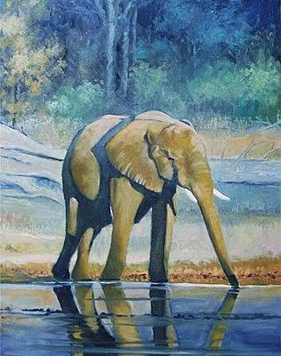 Painting - Elephant Drinking by Deon West