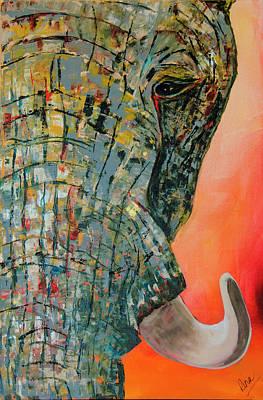 Elephant Face 2 Art Print by Rina Bhabra