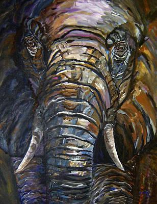 Elephant Faces Of Nature Series Art Print by Mary Jo Zorad