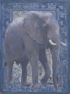 Painting - Elephant Facing Right by Thomas Tribby