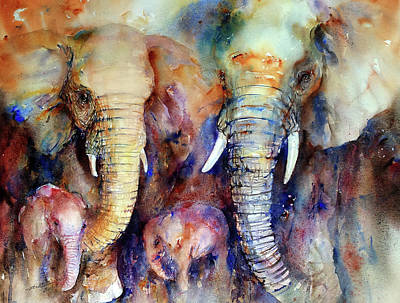 Painting - Elephant Family by Arti Chauhan