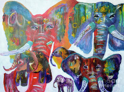 Wall Art - Painting - Elephant Family by Claire Bull