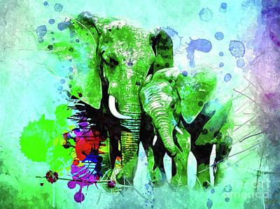 Mixed Media - Elephant Family by Daniel Janda