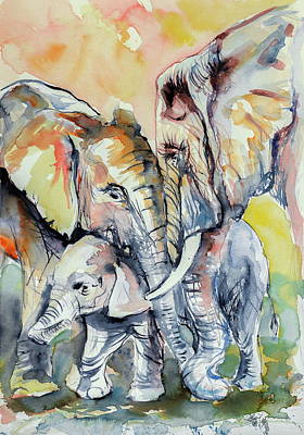 Painting - Elephant Family by Kovacs Anna Brigitta