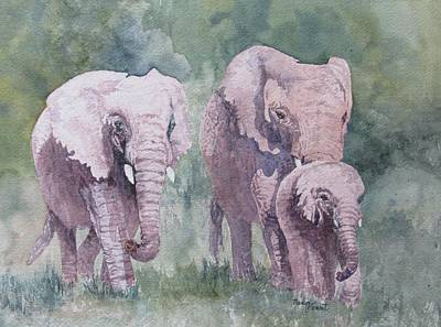 Painting - Elephant Family by Marilyn  Clement