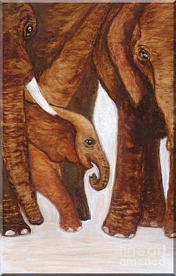 Painting - Elephant Family by Minnie Lippiatt
