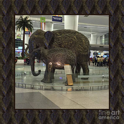 Photograph - Elephant Family Mom N Baby Statue At New Delhi Airport Posters Pillows Bags Tote Curtains Towels Fun by Navin Joshi