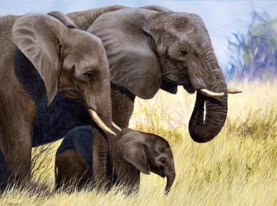 Painting - Elephant Family Painting Print - Jason Morgan by Jason Morgan