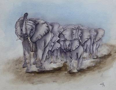 Painting - Elephant Herd Gallop by Kelly Mills