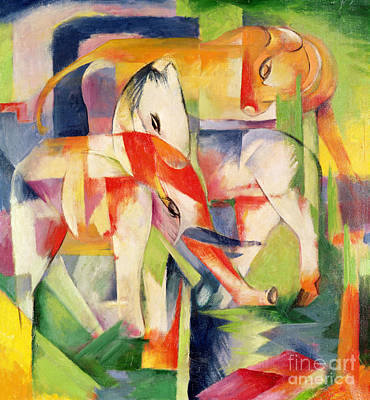 Elephant Horse And Cow Art Print by Franz Marc