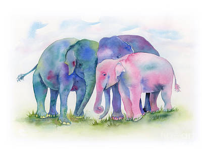 Animals Paintings - Elephant Hug by Amy Kirkpatrick