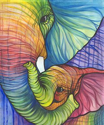 Elephant Hug Art Print by Sarah Jane